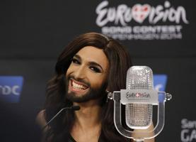 Austrian drag queen Conchita Wurst addresses a news conference after winning the 59th annual Eurovision Song Contest at the B&W Hallerne in Copenhagen May 11, 2014. Wurst, popularly known as